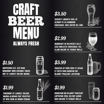 Pub-menu. bierdrankmenu voor restaurant of café sjabloonontwerp. glazen, mokken en vat, flessen schets vectorillustratie. gegraveerde alcoholische drank, blikje met kegel en hoptak