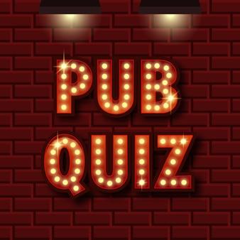 Pub quiz aankondiging poster. trivia licht