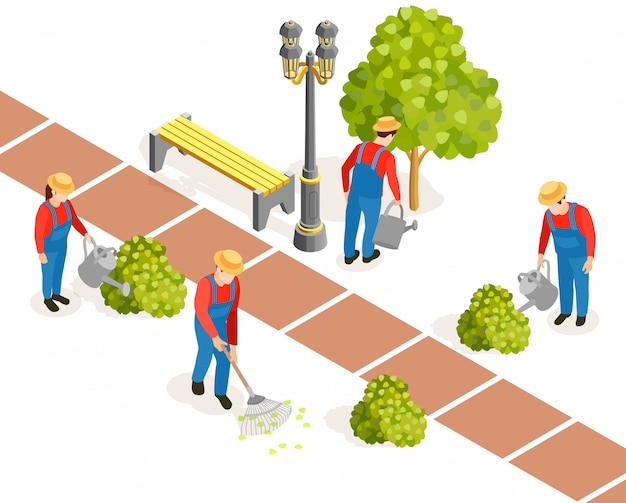 Public garden works composition