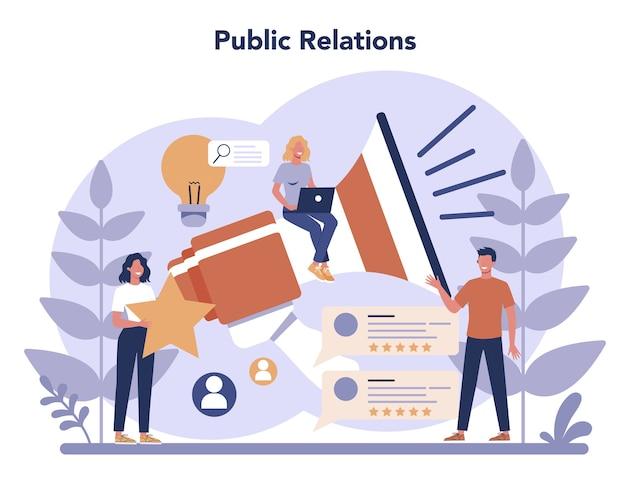 Public relations concept in plat ontwerp