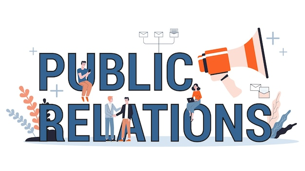 Public relations web banner concept. idee om via massamedia aankondigingen te doen om reclame te maken voor uw bedrijf. management- en marketingstrategie. illustratie