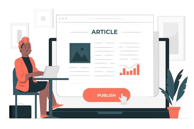Publiceer artikel concept illustratie