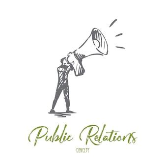 Publiek, reclame, communicatie, pr, mediaconcept. hand getekende pr manager met megafoon concept schets.
