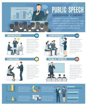 Publieke toespraak infographic elementen met coaching workshop
