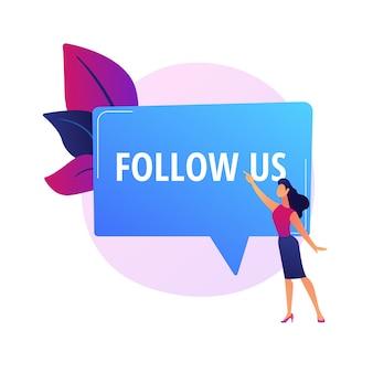Publieksattractie, volg ons meldingsbord. social media-advertenties, online marketing, promosticker. tekstballon met typografie.