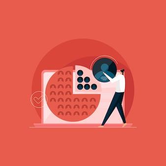 Publiekssegmentatie concept, consument gericht op illustratie