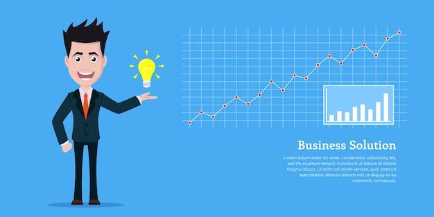 Puctire van zakenmankarakter met lighbulb en grafiek