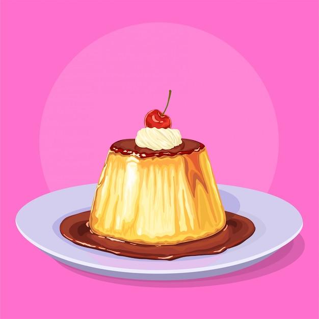Pudding met room en een kers