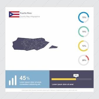 Puerto rico kaart & vlag infographics sjabloon