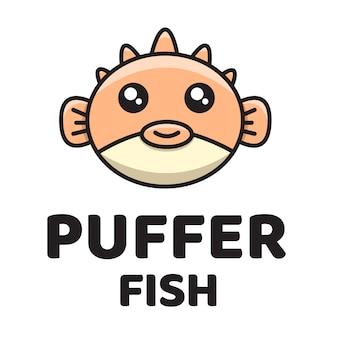 Puffer fish schattig logo sjabloon