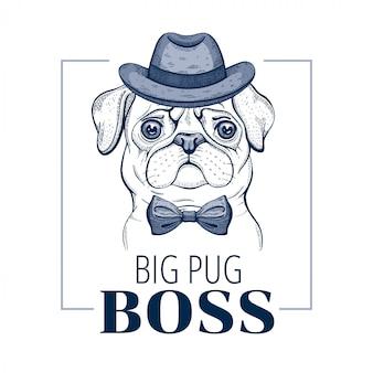 Pug baas hond. koele dierlijke vector in doodle hand getrokken stijl.