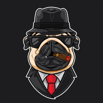 Pug head cartoon mafia