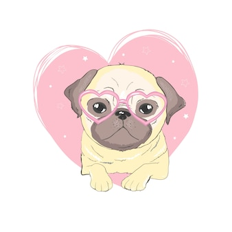 Pug hond cartoon
