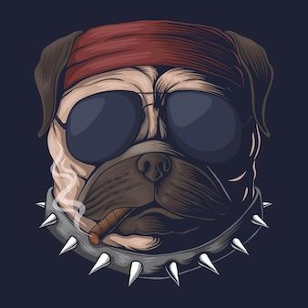 Pug hond hoofd rook illustratie