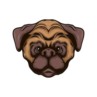 Pug hoofd hond vectorillustratie