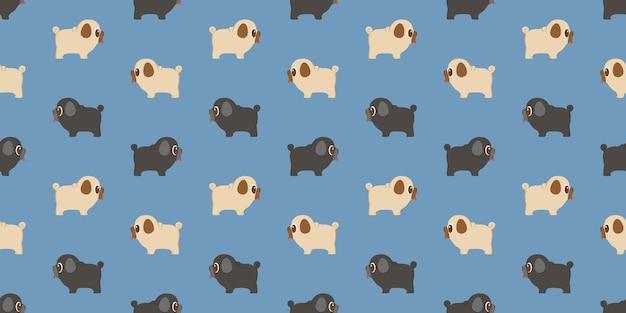 Pug van het hond herhaalde patroon herhaalt op blauwe achtergrond.