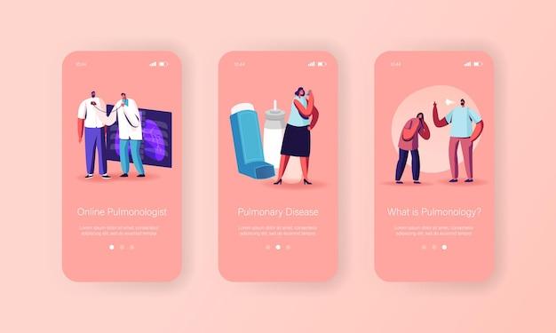 Pulmonologie, astma-ziekte mobiele app-pagina onboard-schermsjabloon