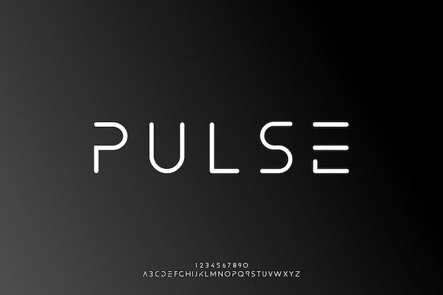 Pulse, een abstract futuristisch alfabetlettertype met technologiethema. modern minimalistisch typografieontwerp
