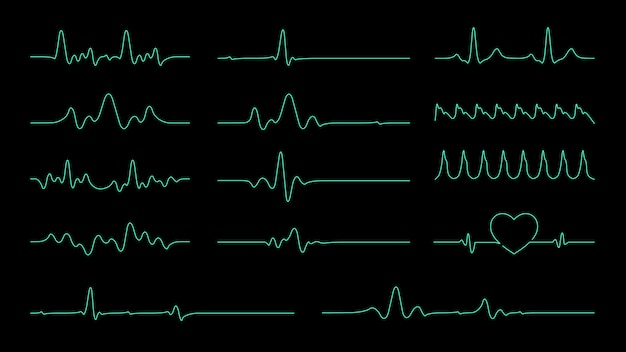 Pulse line vectorverzameling voor element over hartslag en cardiogrammonitor.