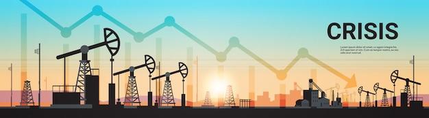 Pumpjack aardolieproductie handel olie-industrie concept pompen industriële apparatuur booreiland zonsondergang achtergrond horizontale kopie ruimte