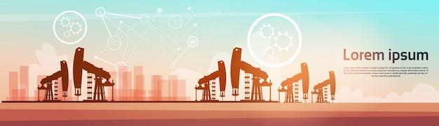 Pumpjack oil rig crane platform banner
