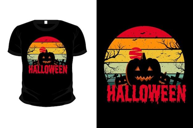 Pumpkin in the grave merchandise silhouet mockup t-shirtontwerp