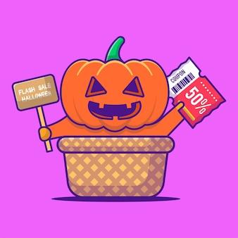 Pumpkin monster halloween korting promotie cartoon afbeelding. halloween platte cartoon stijl concept