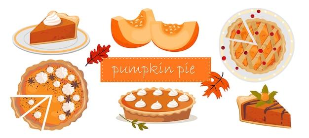 Pumpkin pie-set: taart gesneden, plak, taart bovenop, pompoenplakken.
