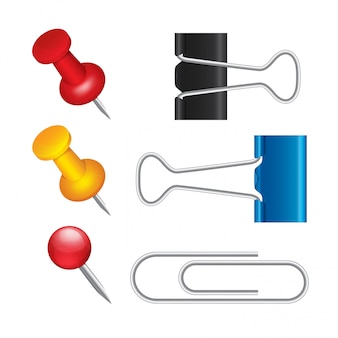 Punaise, paperclips, bindklemmen set. office paperclip of pin pictogrammen.