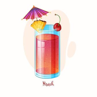 Punch cocktailglas met ananas en kers