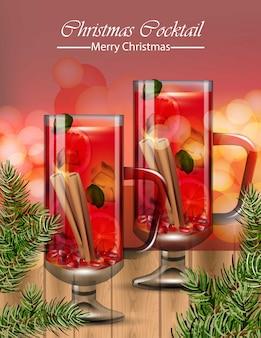 Punch drinkglazen. kerst cocktails winter vector realistisch