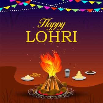 Punjabi festival van lohri-feestvuur met versierde trommel.
