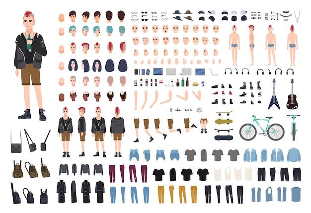Punk doe-het-zelf- of animatiekit, set van jonge mannelijke karakter of tiener lichaamsdelen, emoties, houdingen, outfit, subcultuuraccessoires geïsoleerd