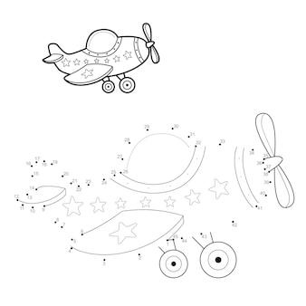 Punt-naar-punt-puzzel voor kinderen. verbind stippen-spel. vliegtuig illustratie