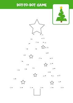 Punt-naar-punt-spel met kerstboom verbind de punten rekenspel punt en kleurenafbeelding