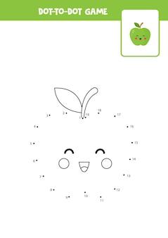 Punt-naar-punt-spel met schattige kawaii-appel verbind de stippen rekenspel punt en kleurenafbeelding