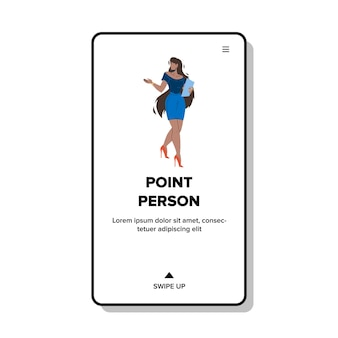 Punt persoon zakenvrouw weg wijzen vector. punt persoon jonge aantrekkelijke afrikaanse zakenvrouw gebaren vinger of kiezen. karakter dame met richting web platte cartoon afbeelding