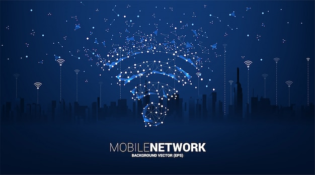 Punt verbinden lijn printplaat mobiele data stijlicoon met stad achtergrond. concept voor gegevensoverdracht van mobiel en wifi-datanetwerk.