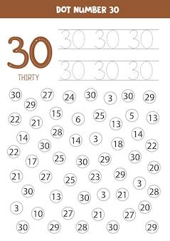 Puntnummers. nummer dertig. educatief rekenspel voor kinderen.