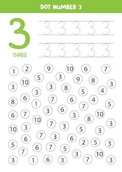 Puntnummers. nummer drie. educatief rekenspel voor kinderen.