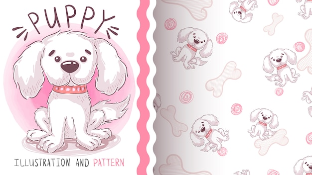 Puppy hond inslag - naadloos patroon