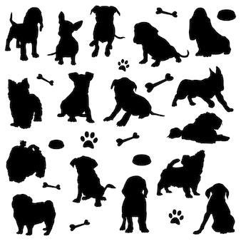 Puppy honden dier thuis huisdier silhouet illustraties