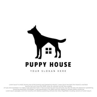 Puppy huis logo ontwerp creatief logo puppy en huis concept voor uw merk of bedrijf