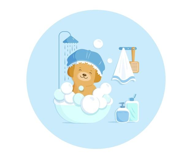 Puppy neemt douche in een klein hondenbadje