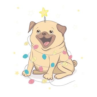 Puppy pug met kerstverlichting