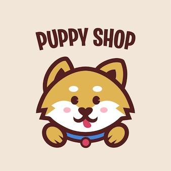 Puppy shop met schattige puppy mascotte logo