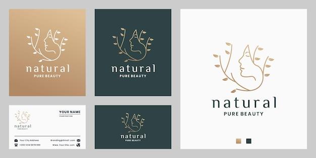 Pure schoonheid, natuurvrouwenlogo-ontwerp voor salon, spa, cosmetica