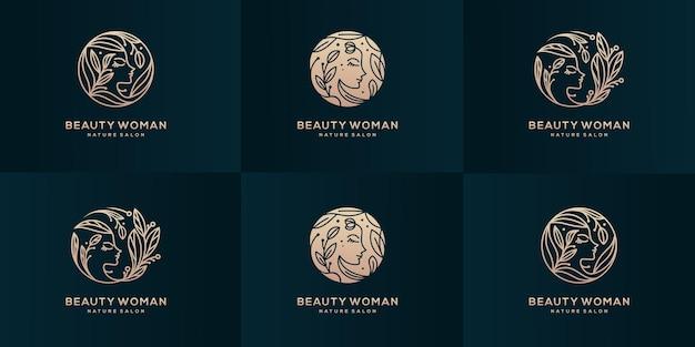 Pure schoonheid vrouw logo design collectie.