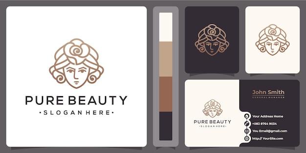 Pure schoonheid vrouwen roos hoofd logo met sjabloon voor visitekaartjes