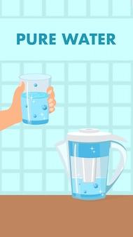 Pure water color vector flyer, brochure met tekst